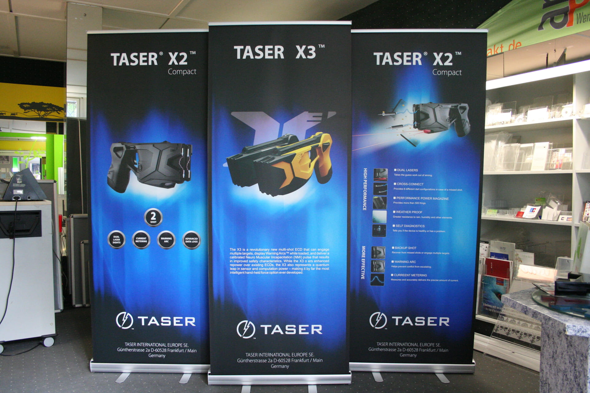 Roll Up, banner, display stand exhibition equipment presentation systems in Frankfurt from anplakt for Taser Europe